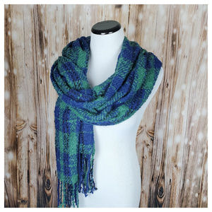 Free People Emerson Plaid Blanket Scarf Blue/Green